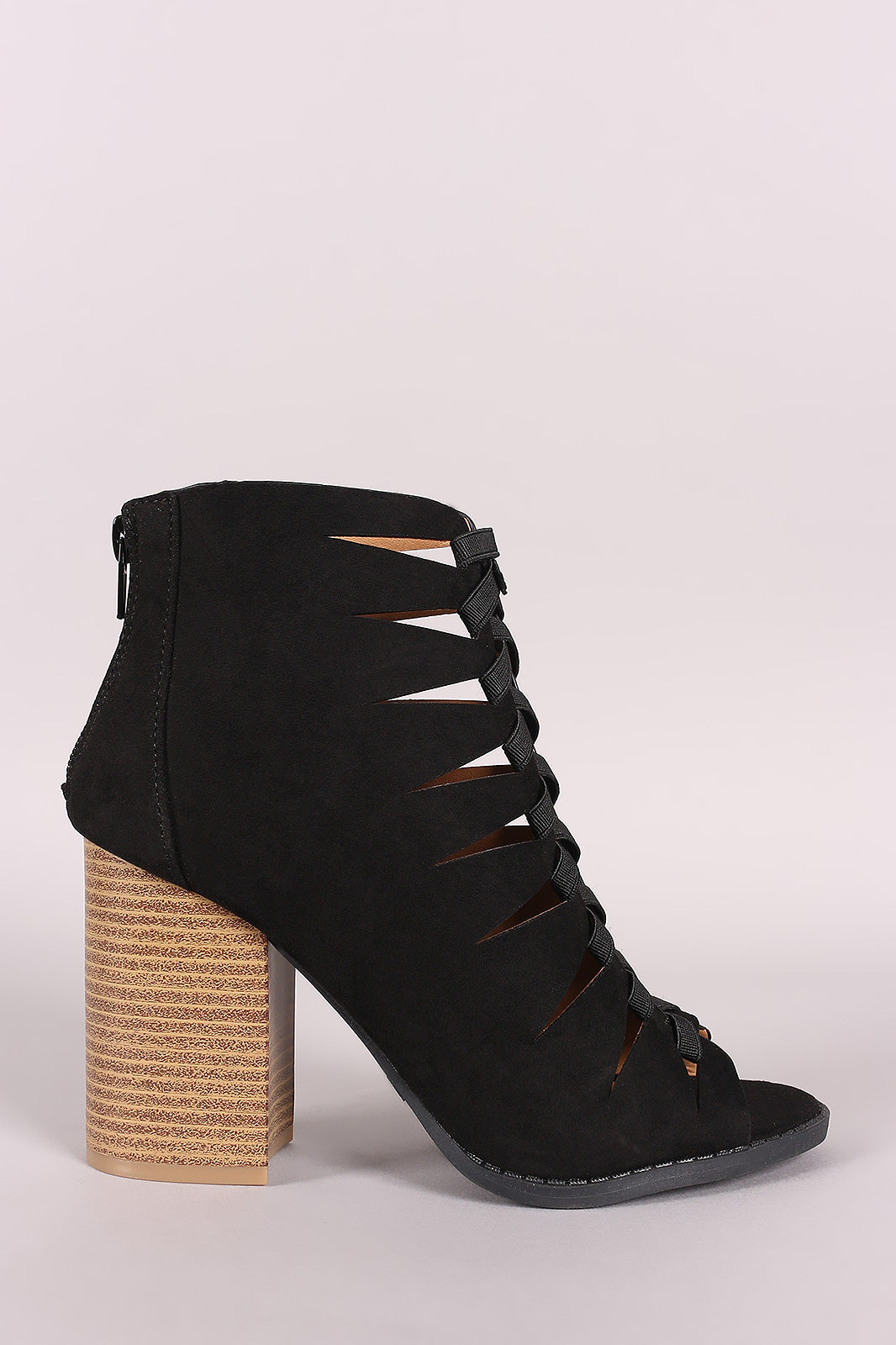 Tessa Cutout Peep Toe Booties - Black/Pink