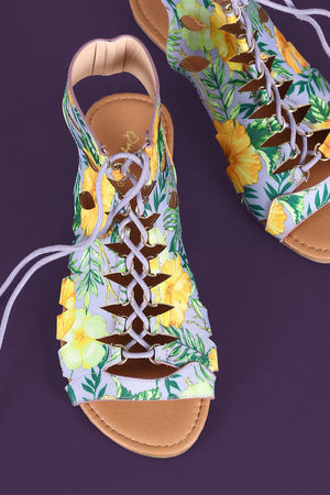 Quinta Caged Lace Up Open Toe Flat Sandal - Tropical