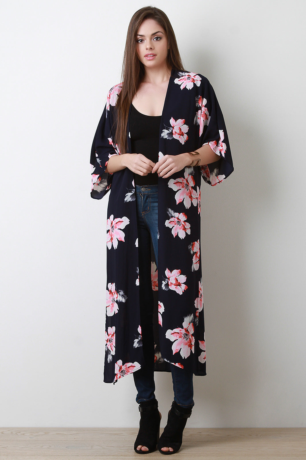 Mariam Textured Floral Open Front Longline Kimono