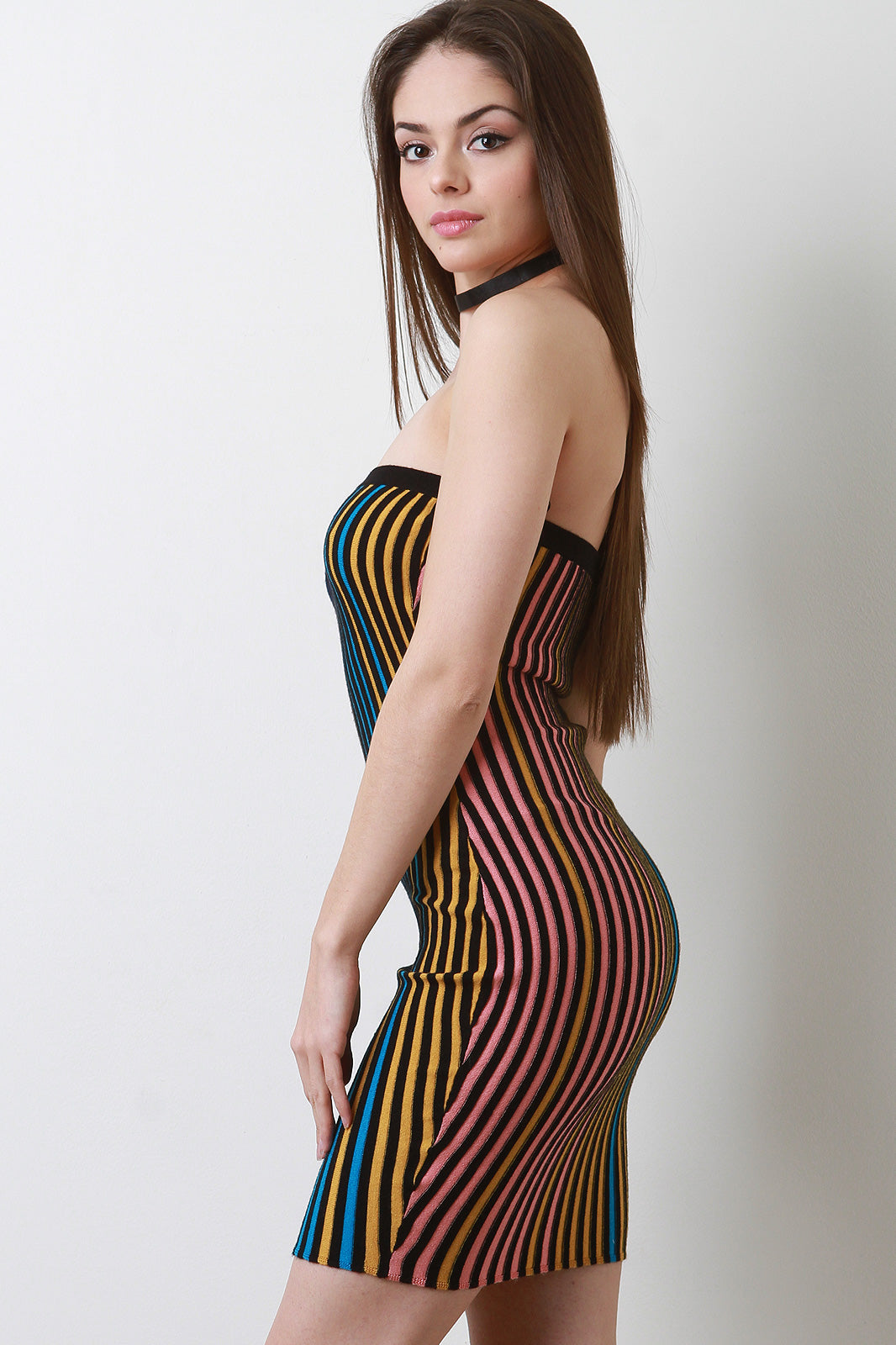 Myra Colored Ribbed Knit Tube Dress