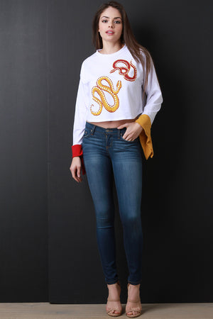 Alice Snakes Contrast Sleeve Crop Top