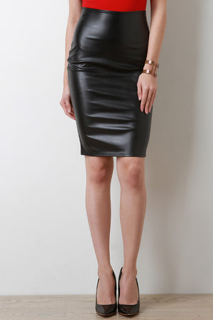Deena Vent Slit Vegan Leather Pencil Skirt