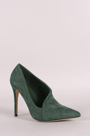 Jane Suede Pointy Toe Asymmetric Pointy Toe Pump - Solid