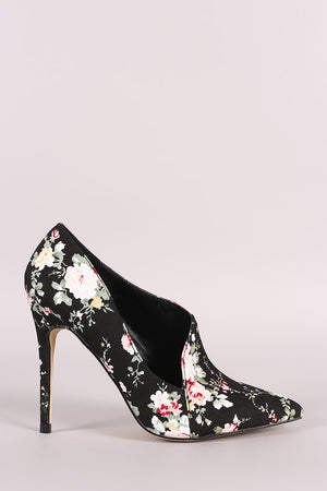 Jane Pointy Toe Asymmetric Pointy Toe Pump - Floral