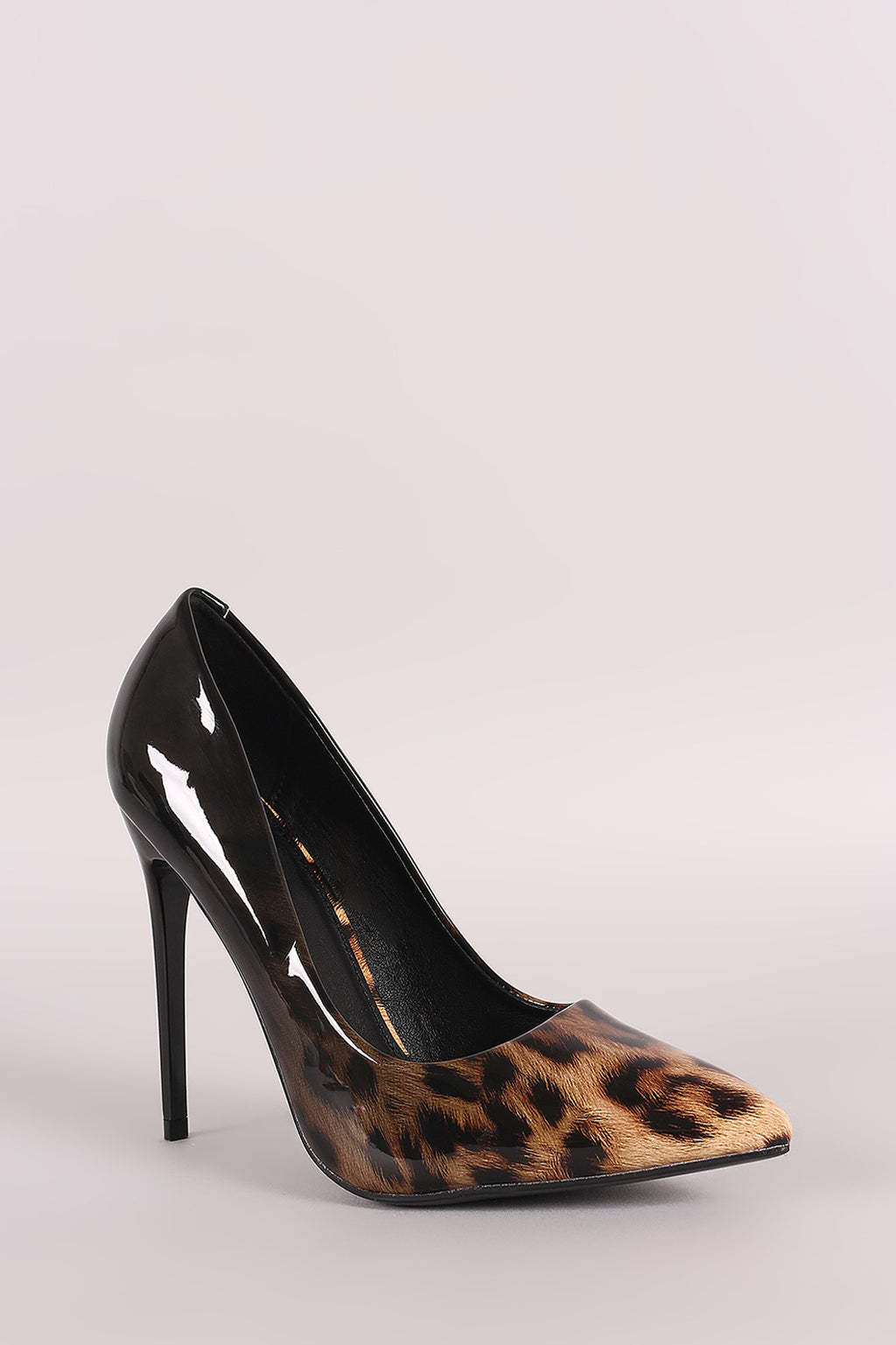 Raven Pointy Toe Leopard Patent Vegan Leather Stiletto Pump