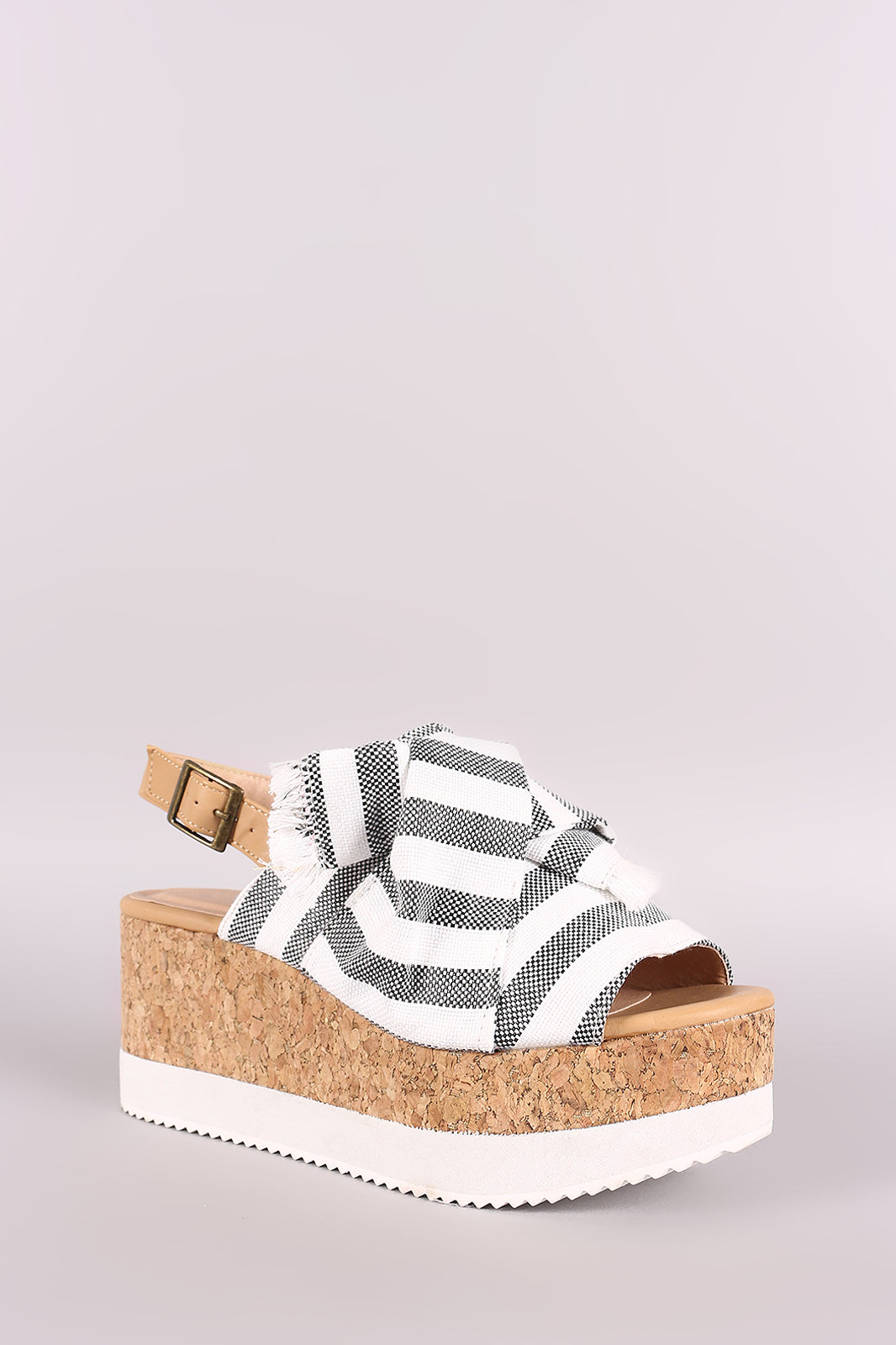Mariam Canvas Striped Peep Toe Slingback Flatform Wedge
