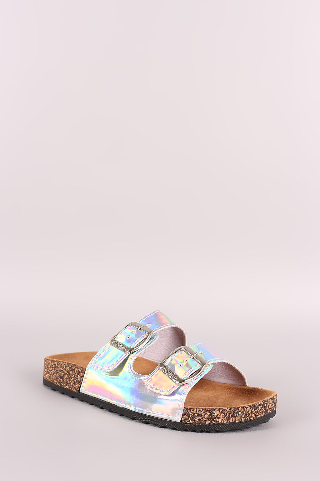Katherine Open Toe Buckled Cork Footbed Slide Sandal - Iridescent