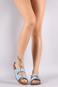 Katherine Open Toe Buckled Cork Footbed Slide Sandal - Denim