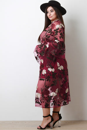 Beth Floral Embroidery Mesh Trumpet Sleeve Two Piece Dress