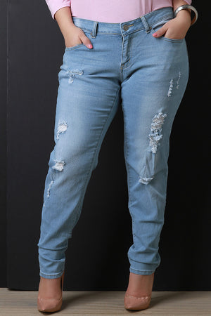 Callie Distressed Mid Rise Denim Jeans