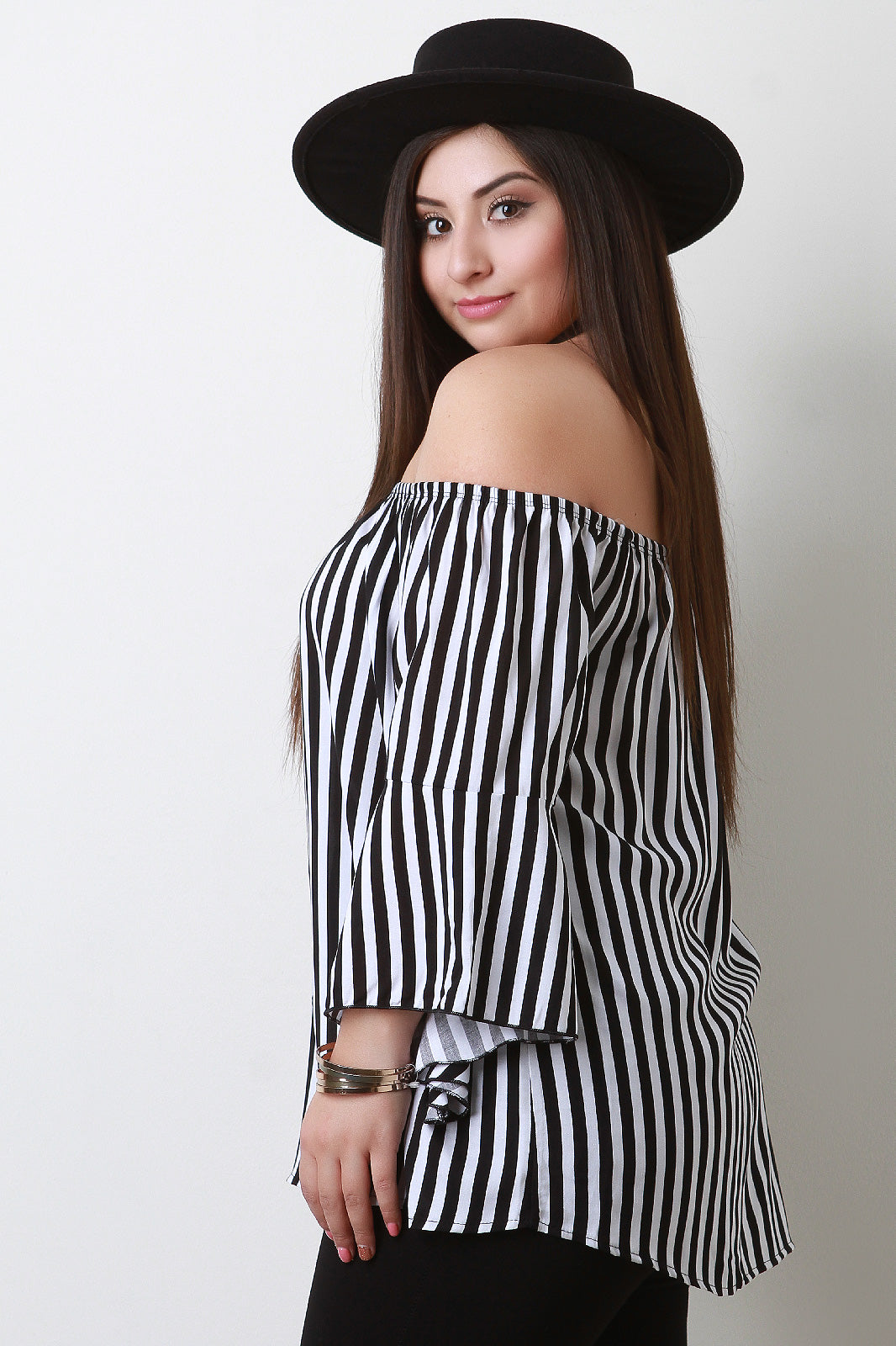 Priscilla Stripe Off-The-Shoulder Bell Sleeves Top