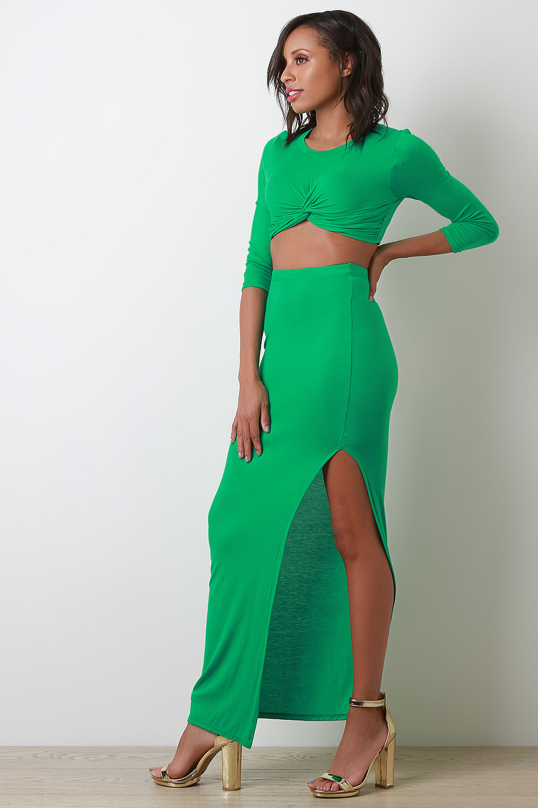 Jewele Jersey Twist Front Crop Top With Slit Maxi Skirt Set