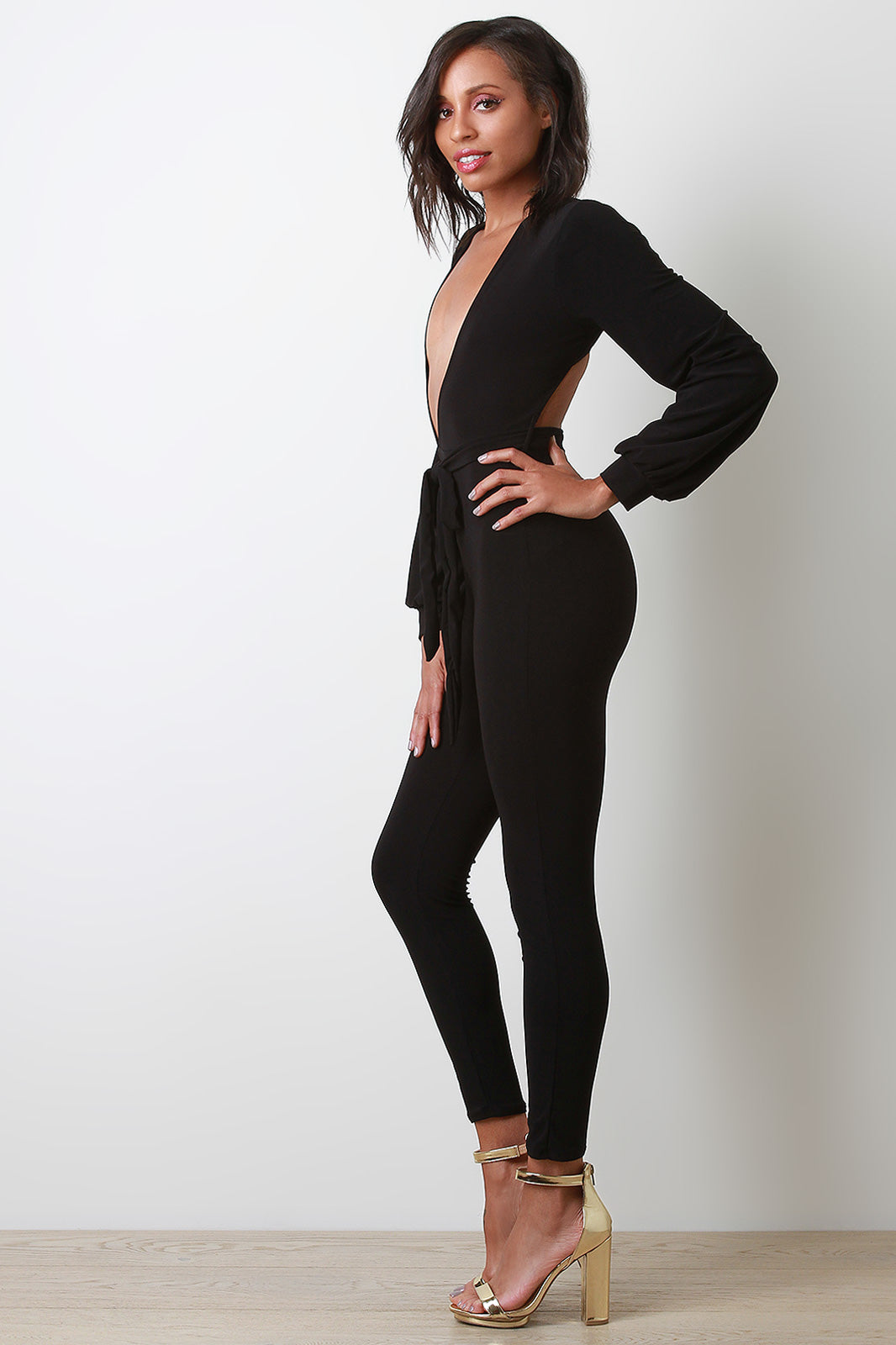 Charlie Deep-V Back Cutout Jumpsuit