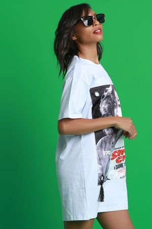 Tisha Sin City Dame Print T-Shirt Dress