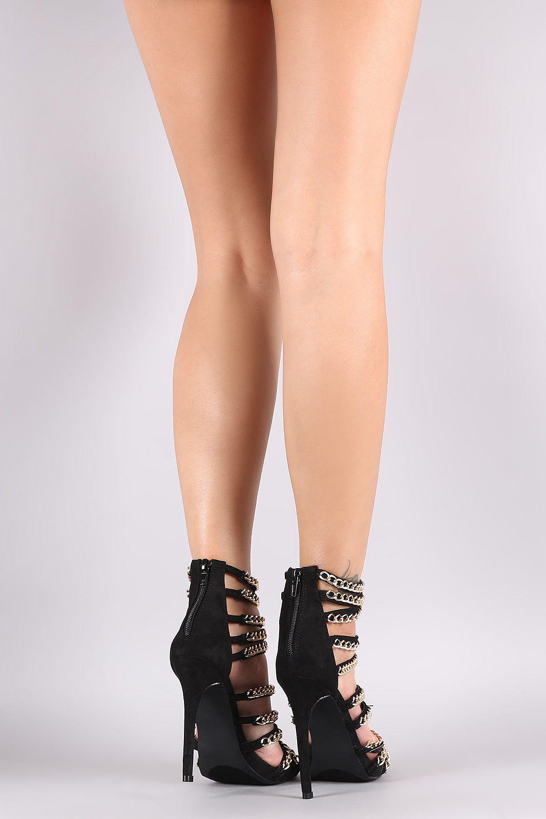 Melody Strappy Chain Embellished Open Toe Stiletto Heel - Black