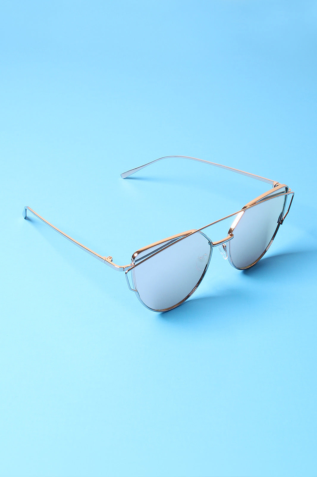 Wired Cateye Brow-Bar Aviator Sunglasses
