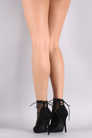 Sasha Suede Mesh Back Lace-Up Stiletto Booties