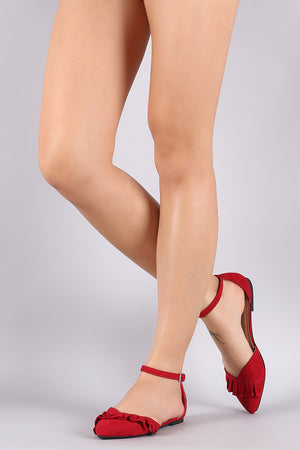 Ruffle Trim Pointy Toe Ankle Strap Flat