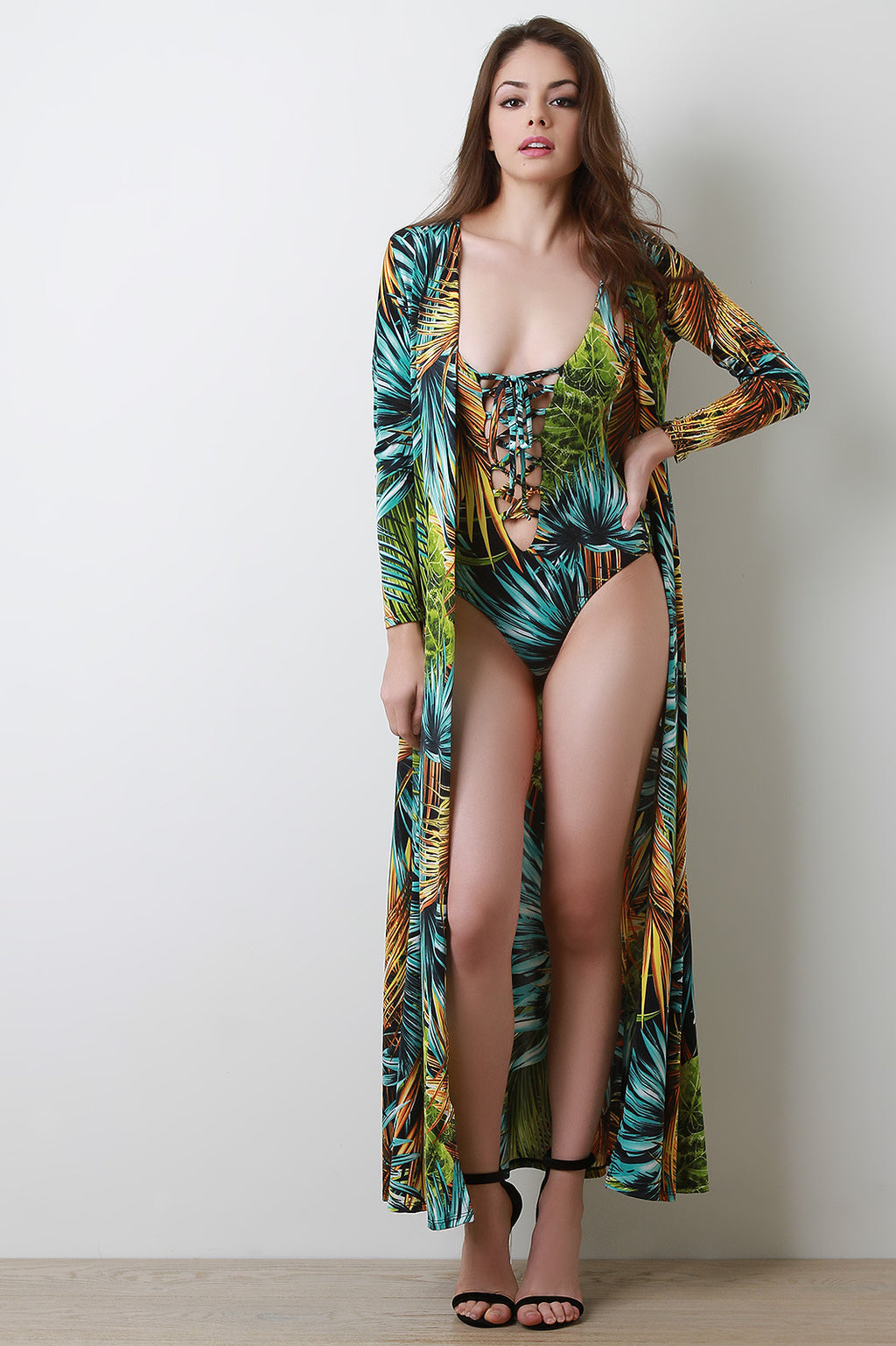 Angela Lattice Palm Swimsuit with Longline Cover-Up Set