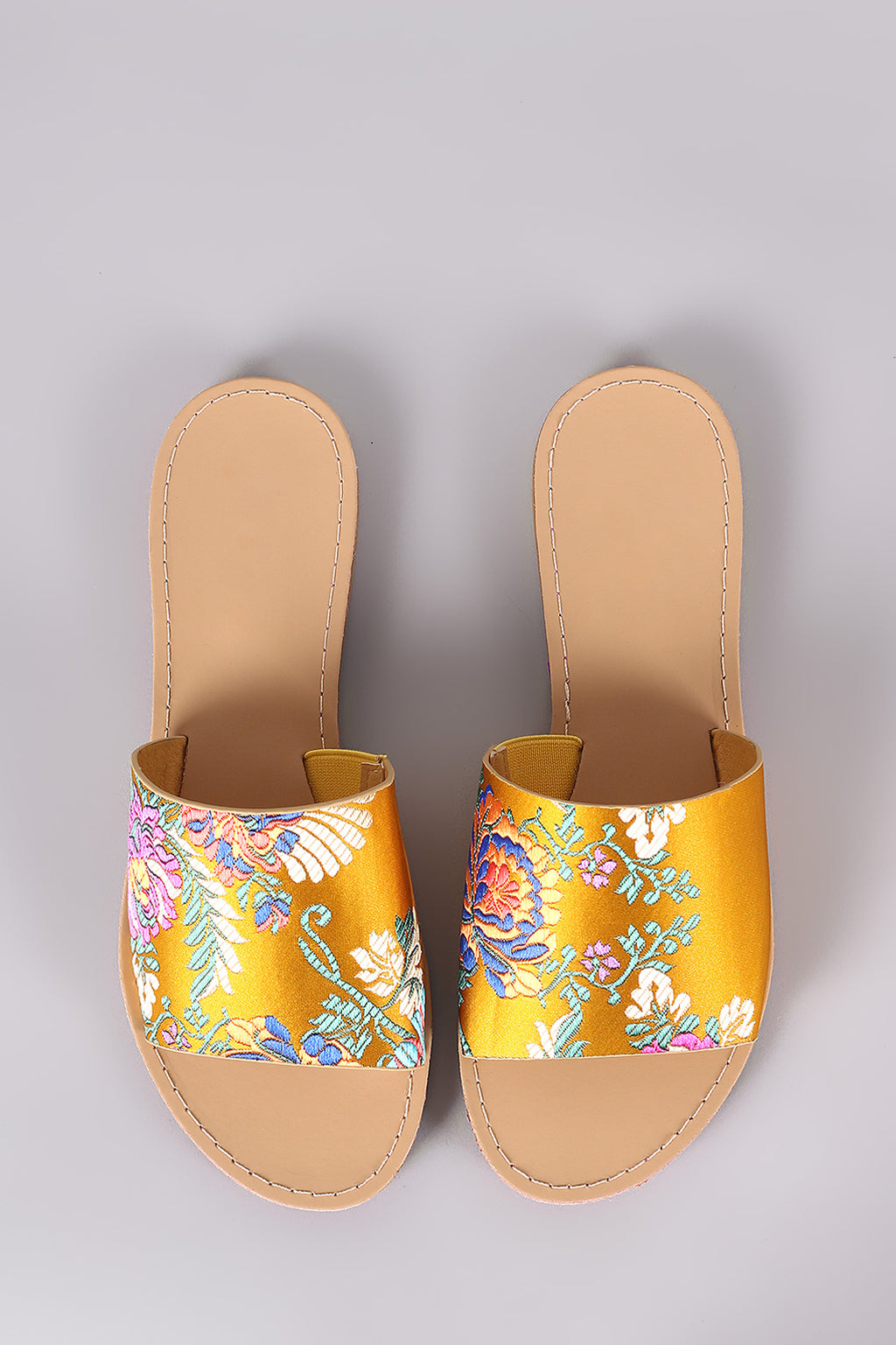 Geneva Floral Brocade Wide Band Slide Sandal