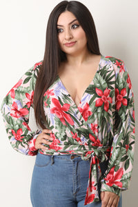 Ona Tropical Floral Long Sleeve Wrap Top