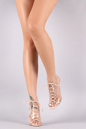 Denise Suede Transparent Lace-Up Open Toe Stiletto Booties