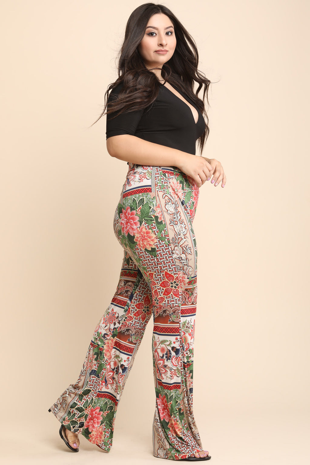 Heather Mixed Floral Print High Rise Wide Leg Pants