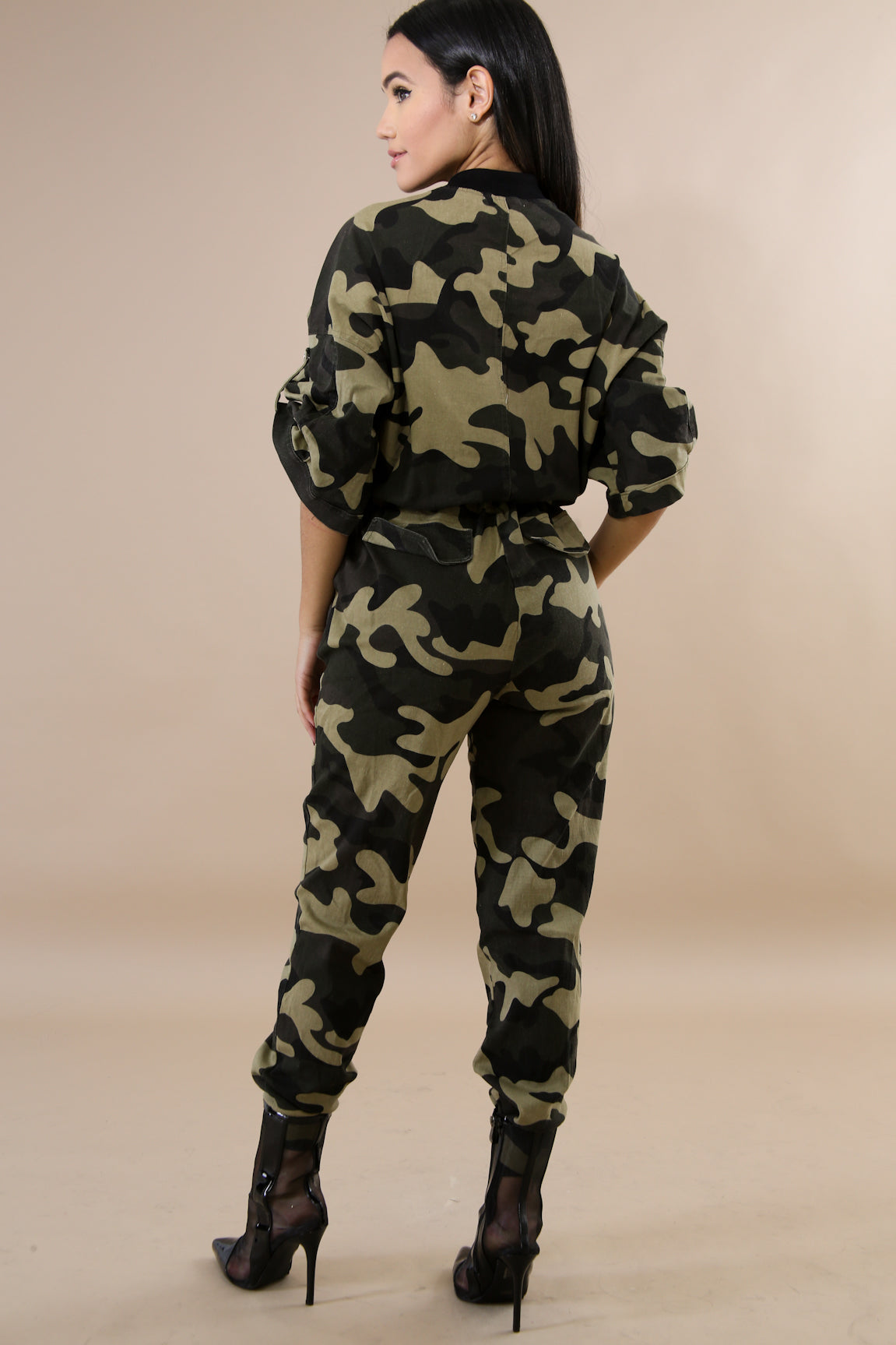 Shannon Camouflage Button-Up Jumpsuit
