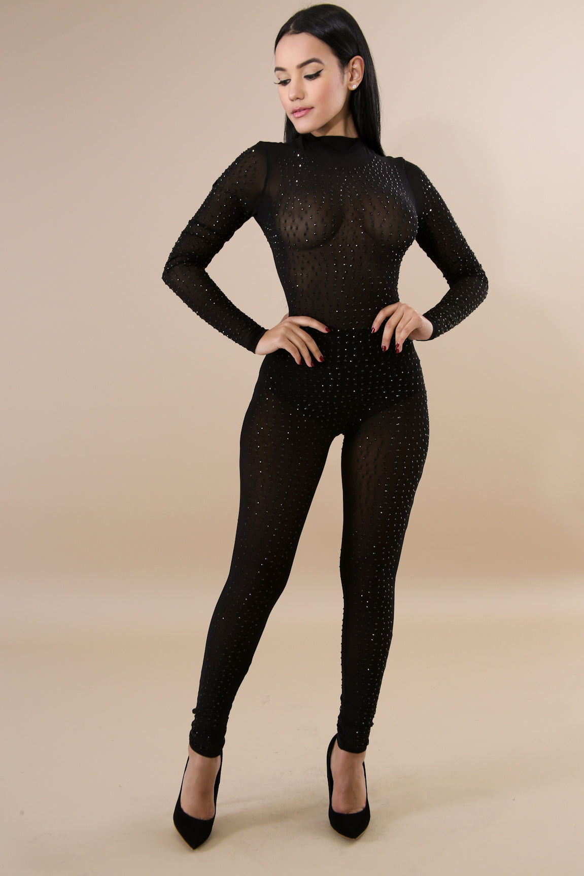 Mariah Jeweled Mock Neck Mesh Long Sleeve Jumpsuit