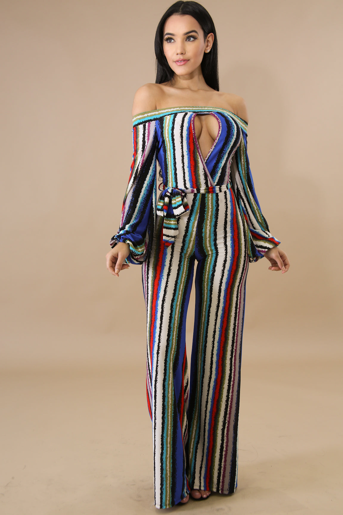 April Striped Keyhole Bardot Jumpsuit