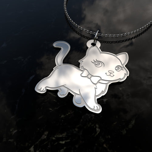 Cartoon Cat - Sterling Silver Necklace