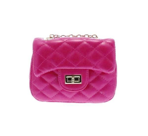 Diamond Quilted Cross Body Bag with Twist Closure Fuchsia