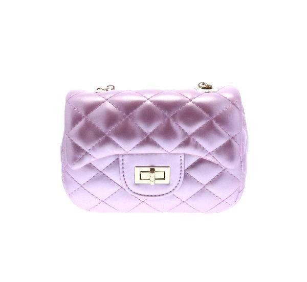Diamond Quilted Cross Body Bag with Twist Closure Light Pink