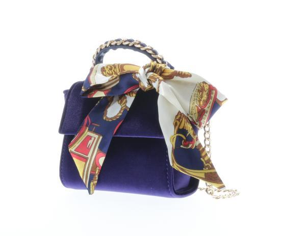 Top handle velvet handbag with cross-body chain and matching scarf