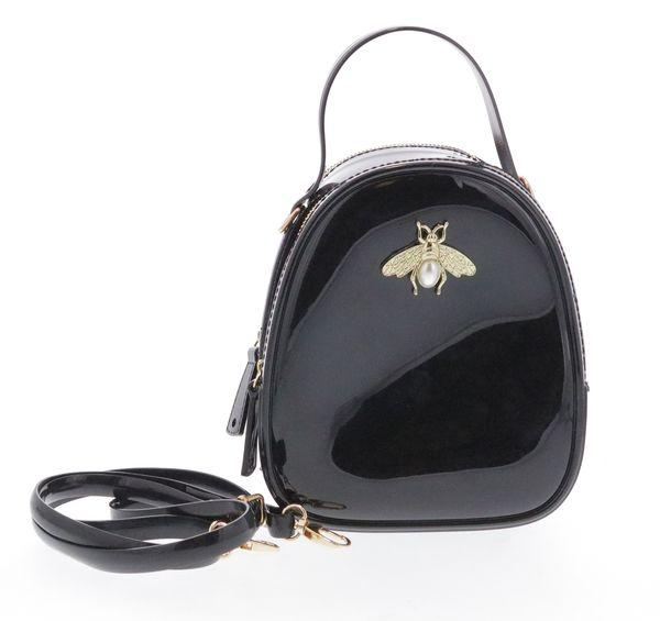 Jelly purse with Bee Pin Black Glitter