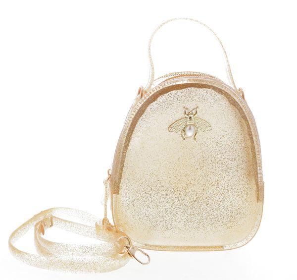 Jelly purse with Bee Pin Gold Glitter