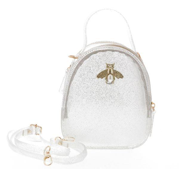 Jelly purse with Bee Pin Silver Glitter