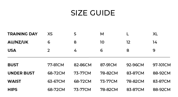 Training Day Size Chart