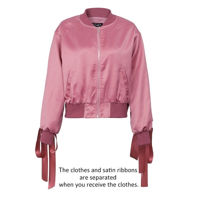 Satin Lace Up Bomber Jacket - Available In 2 Colours