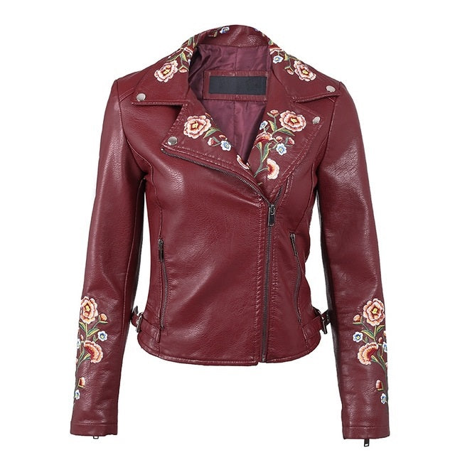 Floral Embroidery Leather Jacket - Available In 3 Colours