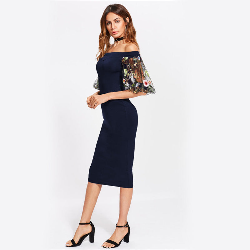 Navy Bodycon Dress With Embroidered Mesh
