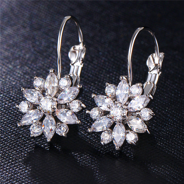 3 Colour Crystal Flower Stud Earrings