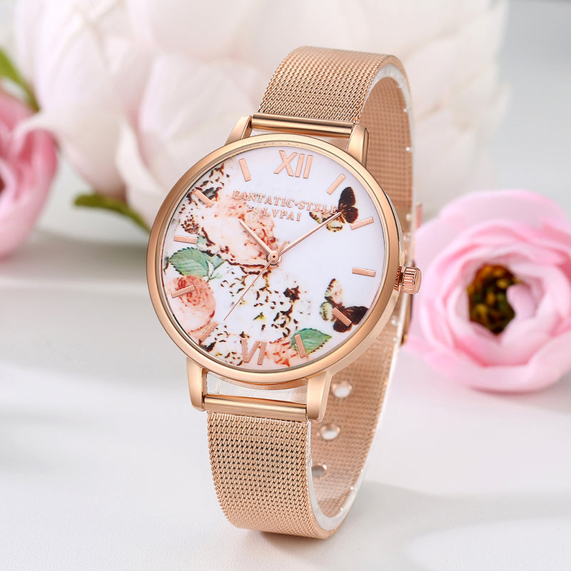 Rose Gold Floral Dress Watches