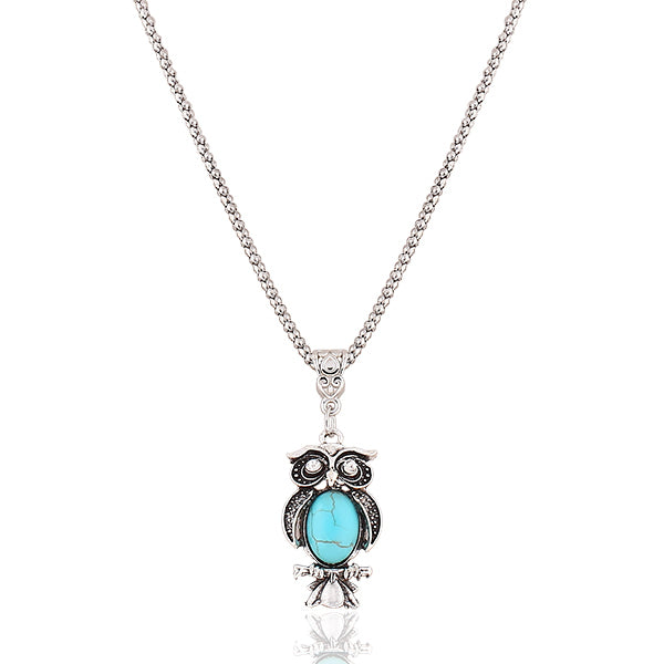 Owl Blue Stone Pendant Necklace
