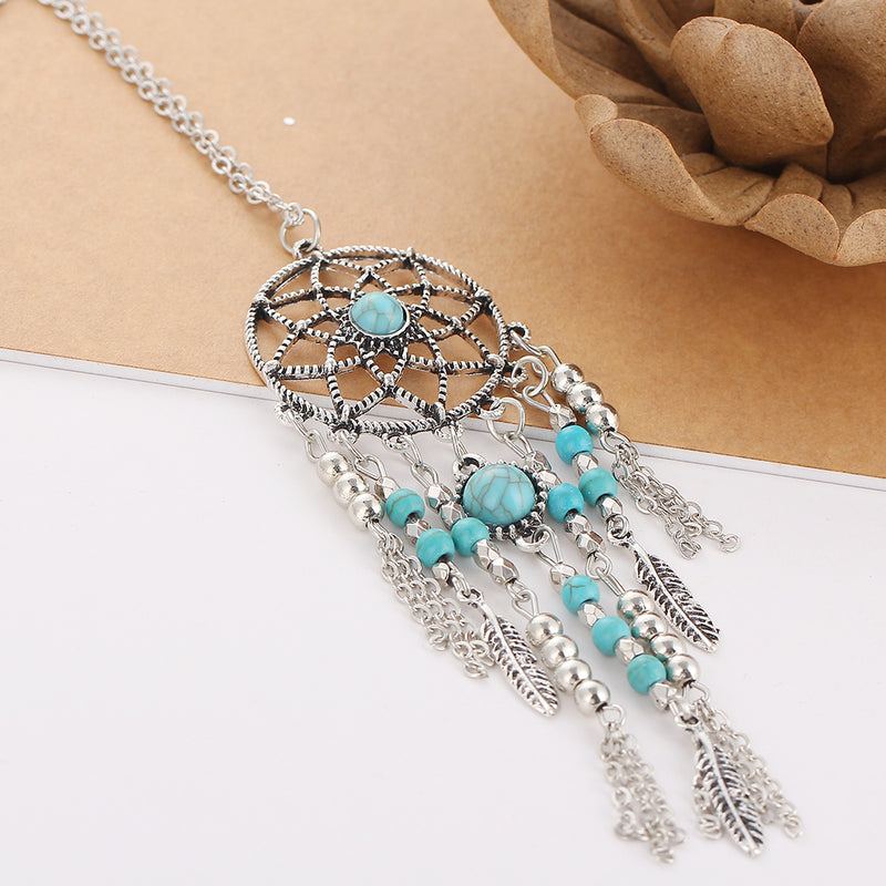 Dream Catcher Blue Stone Necklace