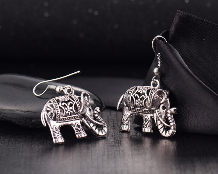 Elephant Silver Drop Earrings