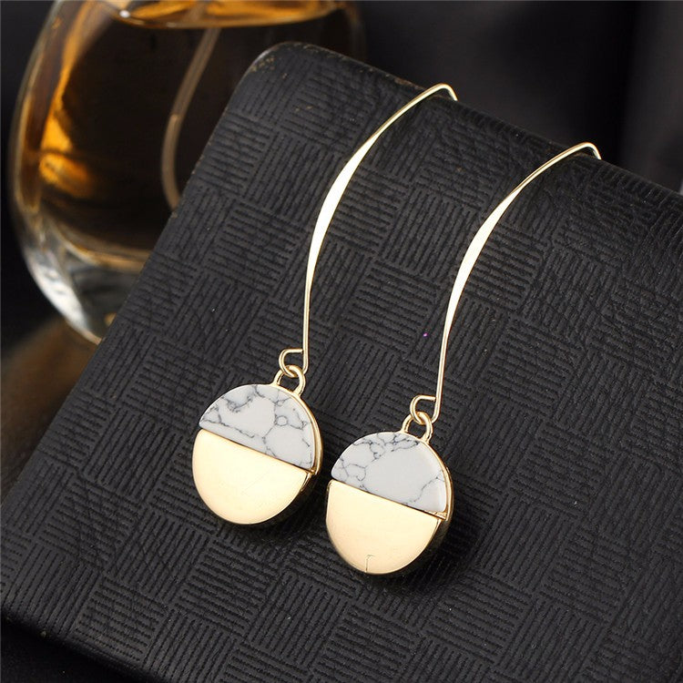 Gold White Stone Drop Earrings