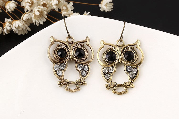 Vintage Owl Drop Earrings
