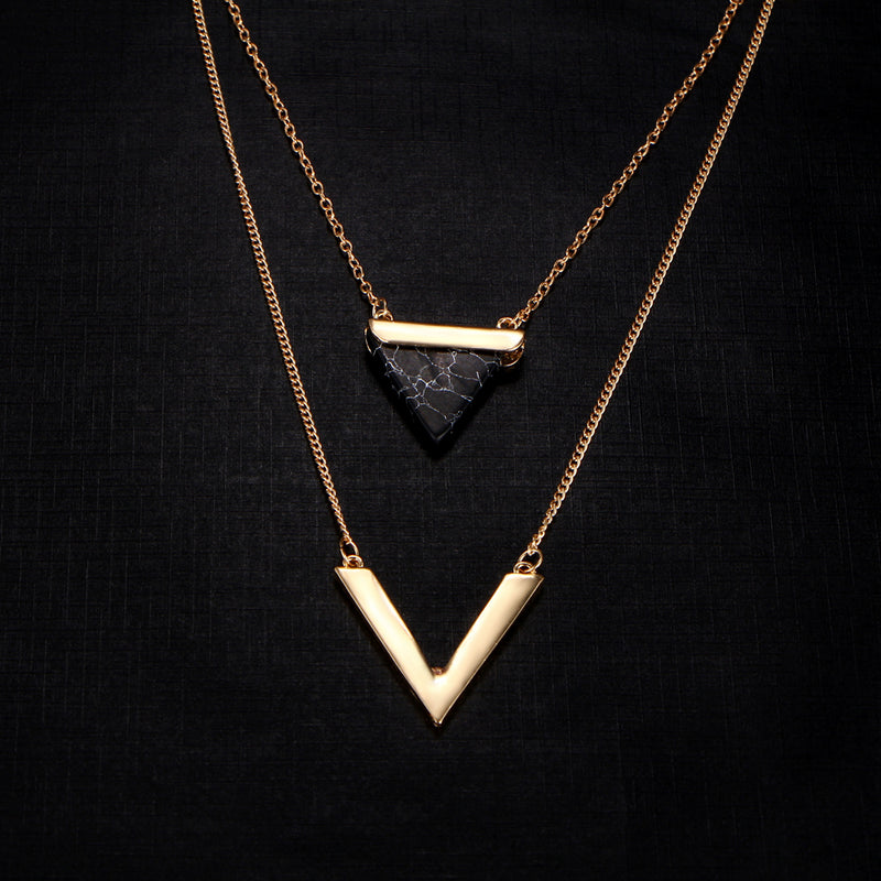 Triangle Stone Pendant Necklaces