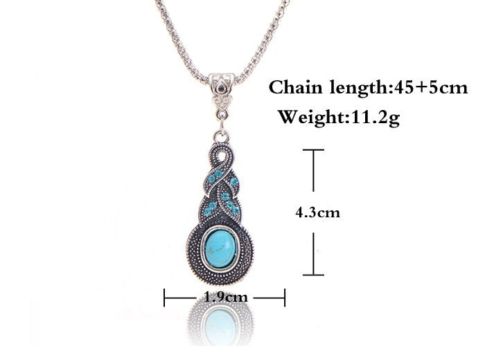 Blue Stone Pendant Necklace